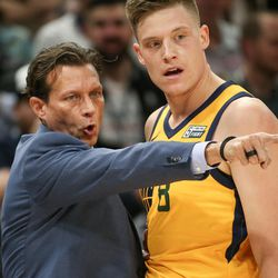Utah Jazz head coach Quin Snyder talks to forward Jonas Jerebko (8) on the sideline during the game against the Denver Nuggets at Vivint Smart Home Arena in Salt Lake City on Tuesday, Nov. 28, 2017.