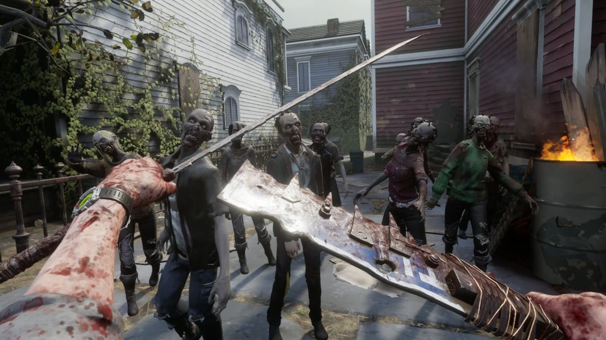 The player brandishes handmade, cutting weapons against a group of zombies