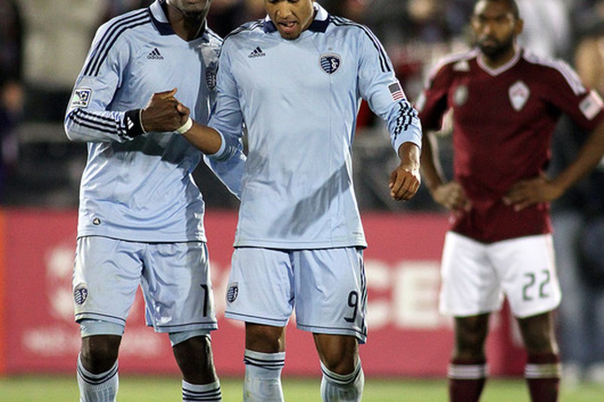 The play of CJ Sapong (left), and Teal Bunbury will play a big part in just how far Sporting Kansas City will go in the postseason.(Photo by Marc Piscotty/Getty Images)