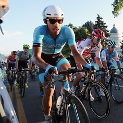 Riders compete in Stage 4 of the Tour of Utah in Salt Lake City on Friday, Aug. 16, 2019.