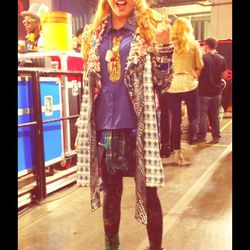 Beatrice Miller in a shirt by Chloe K, a custom/vintage jacket by Marina Toybina, Brian Lichtenberg leggings, scarves by Thomas Wylde and Geren Ford, Betsy Johnson tie and vintage shoes.