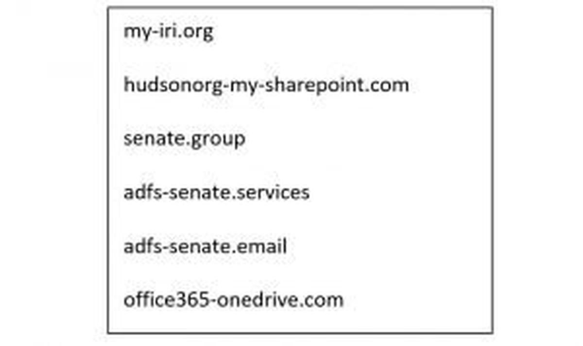 Domain names made by Fancy Bear hackers to resemble those of the Senate, conservative think tanks, and Microsoft.