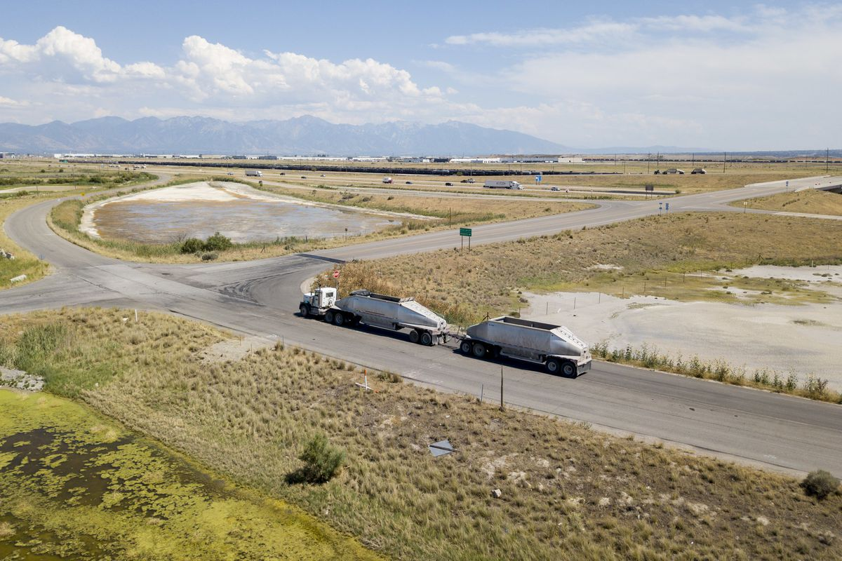 FILE - A section of land looking southeast at 7200 West and I-80 that is part of the proposed Utah Inland Port in Salt Lake City on Monday, July 16, 2018.