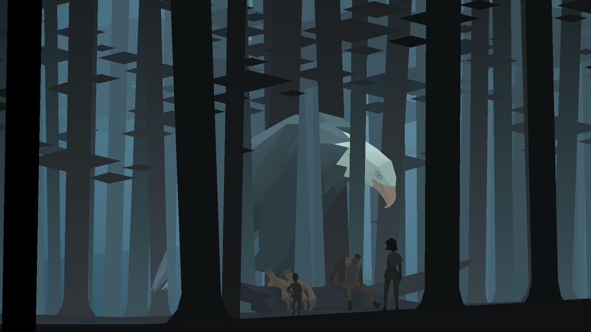 a giant bald eagle perched on a fallen log in a forest with a few people around it in Kentucky Route Zero