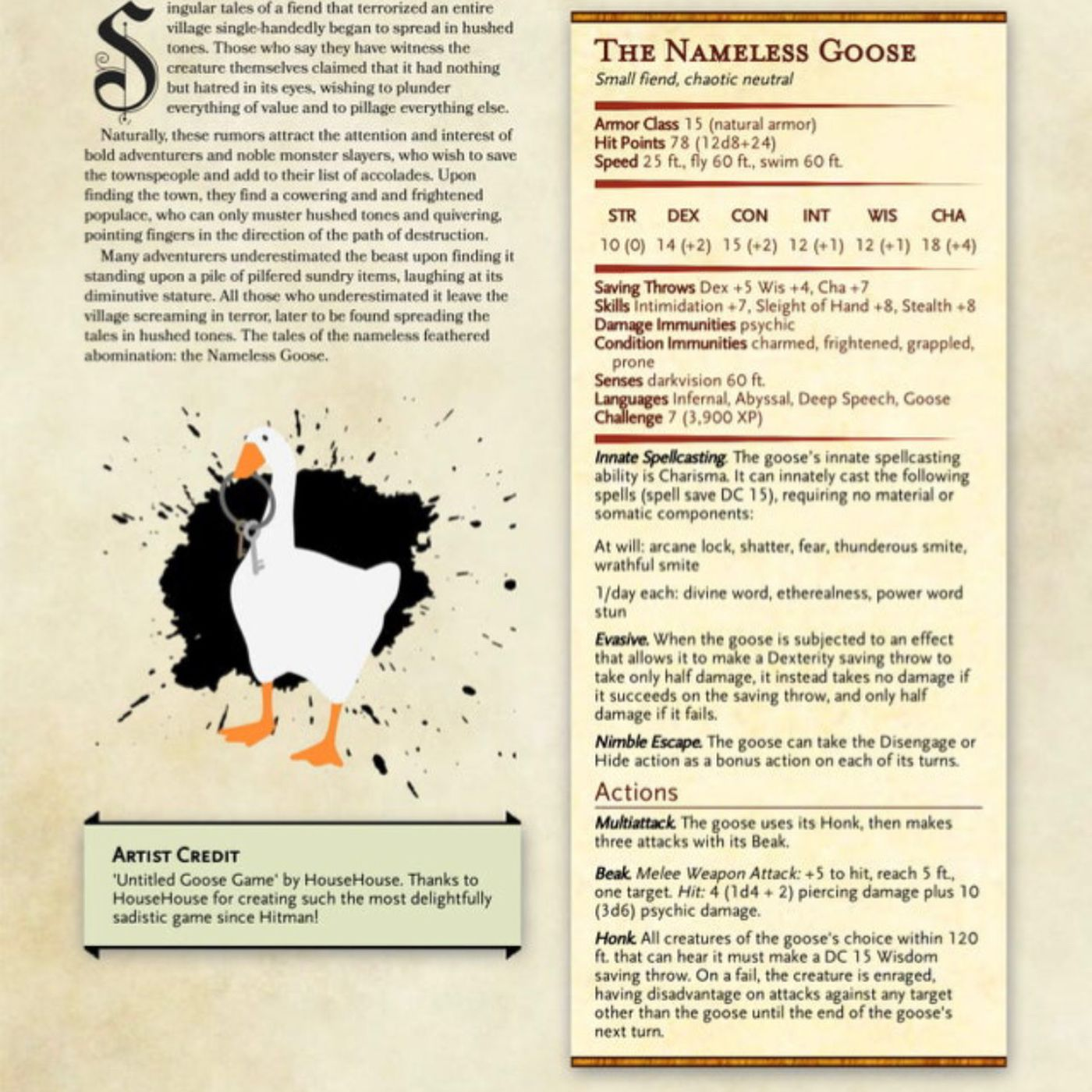 How to add the Untitled Goose Game goose to your next D&D