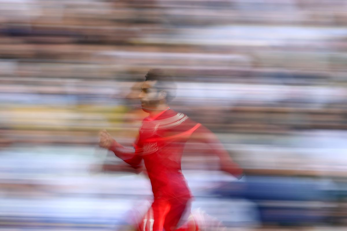 Mohamed Salah of Liverpool in action during the Premier League match between Leeds United and Liverpool at Elland Road on September 12, 2021 in Leeds, England.