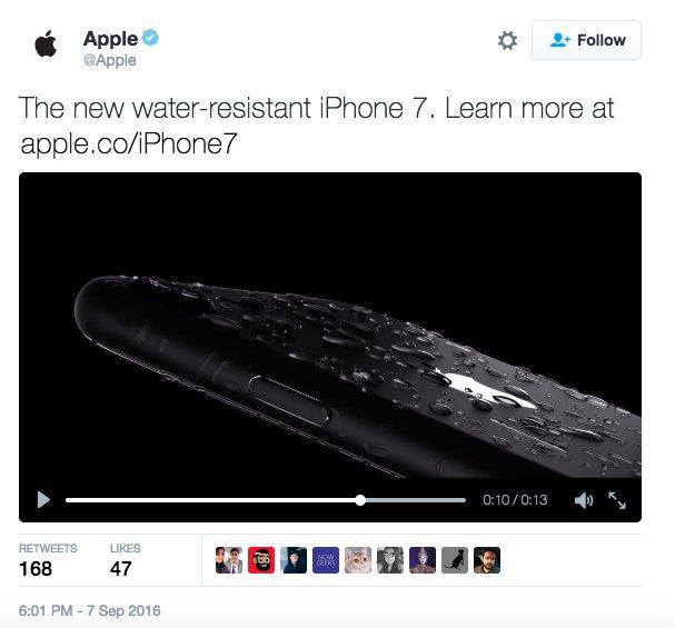 image of a tweet announcing iPhone 7, from apple, released early