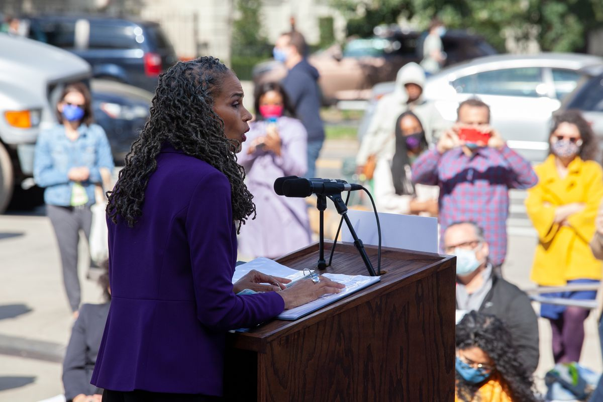 Maya Wiley announces the start of her mayoral campaign outside the Brooklyn Museum, Oct. 8, 2020.
