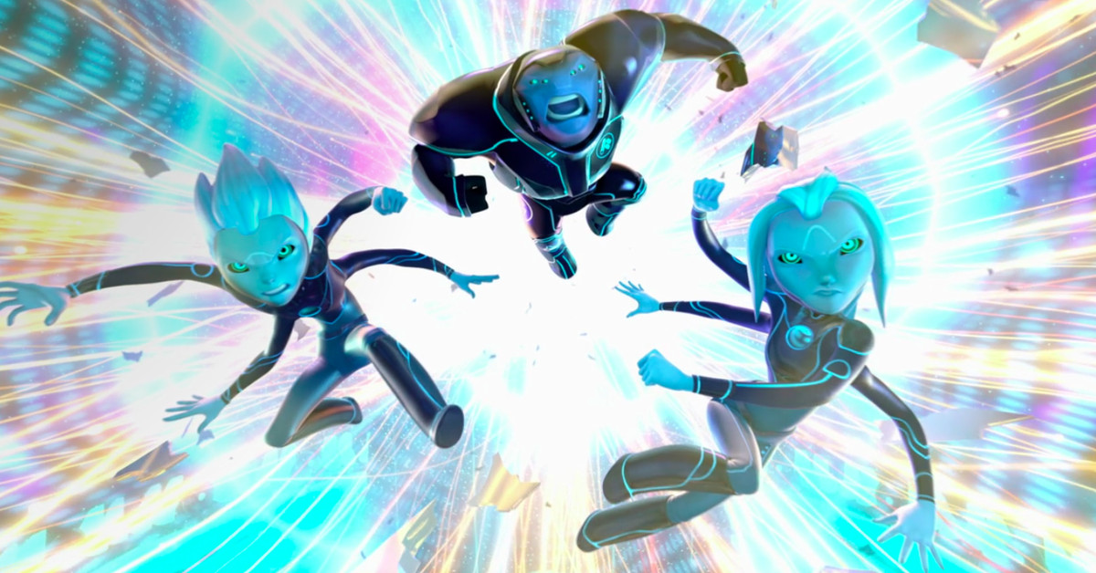 Three blue-skinned extraterrestrials leap in front of a colorful background on 3Below