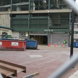 Gate D dumpsters, they are regularly filled and replaced -