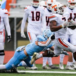 Salem and Timpview compete in a 5A football state semifinal game at Cedar Valley High School in Eagle Mountain on Friday, Nov. 13, 2020.