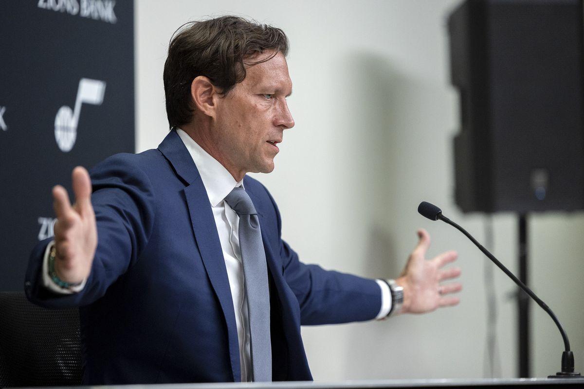 Utah Jazzcoach Quin Snyder talks during the Utah Jazz media media day at Vivint Arena in Salt Lake City on Monday, Sept. 27, 2021.