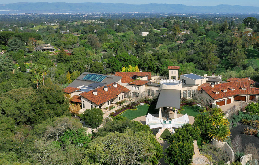 An estate surrounded by trees in Los Altos Hills.