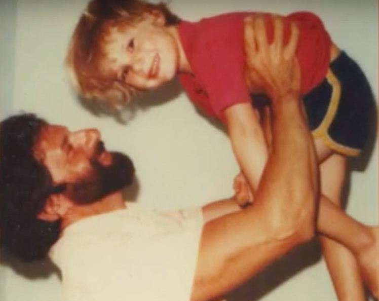 A young Chesa Boudin with his father David Gilbert in a prison visiting room in New York.