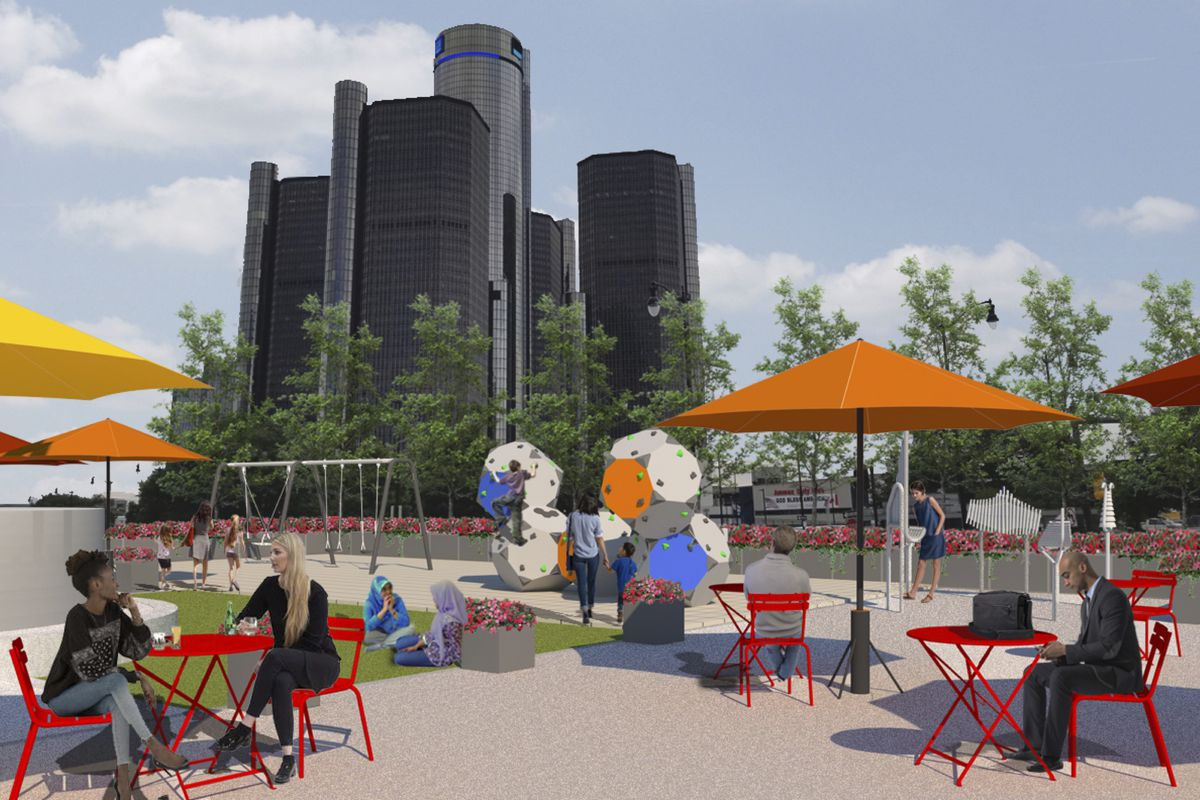 Rendering of people sitting at several red tables under awnings with play ground equipment and a big glass skyscraper in the background.