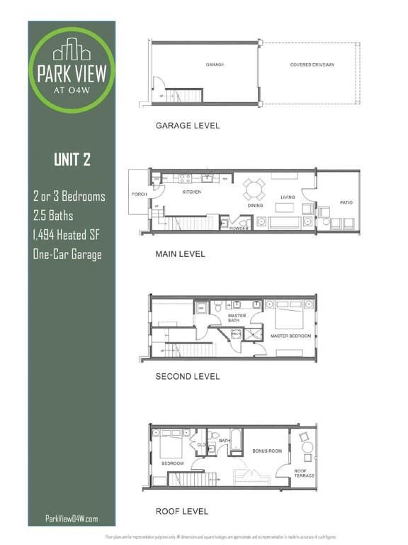 A floorplan for a four-level townhome.