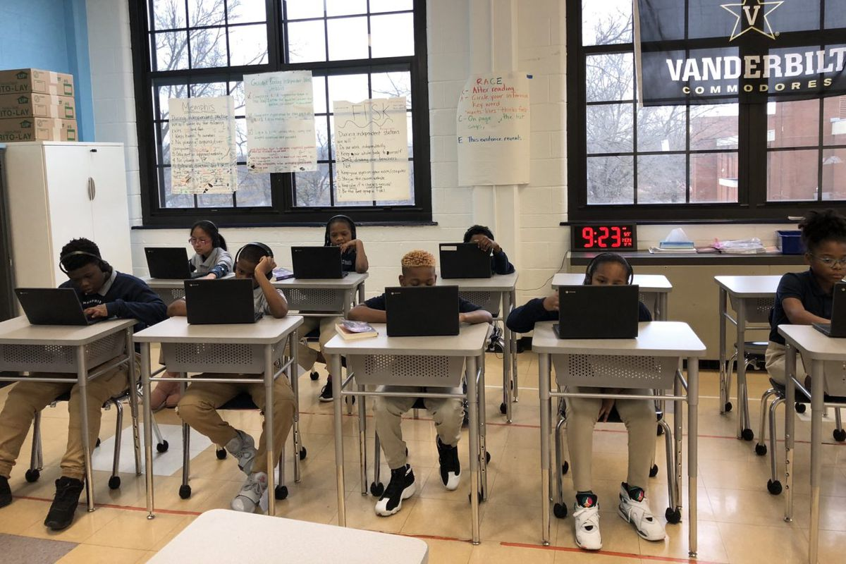 Students at Believe Memphis Academy work on an exam this spring.