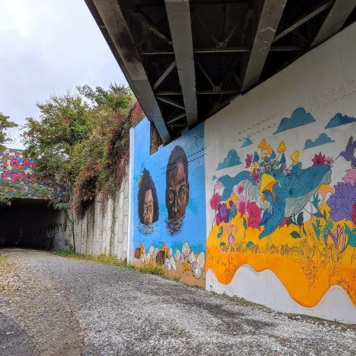 A variety of murals beneath a huge interstate in Atlanta.
