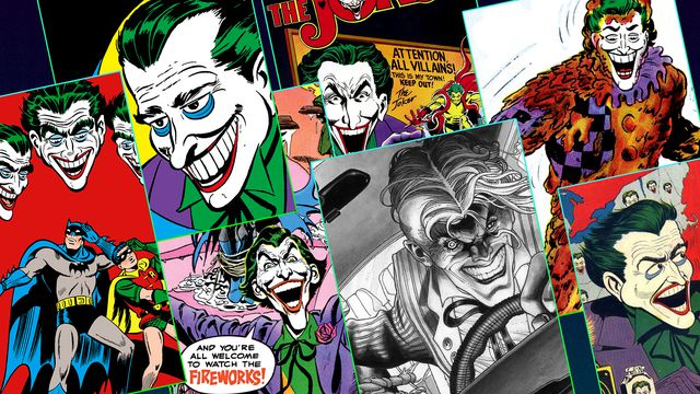 "the covers of seven different comics featuring ""The Joker"""