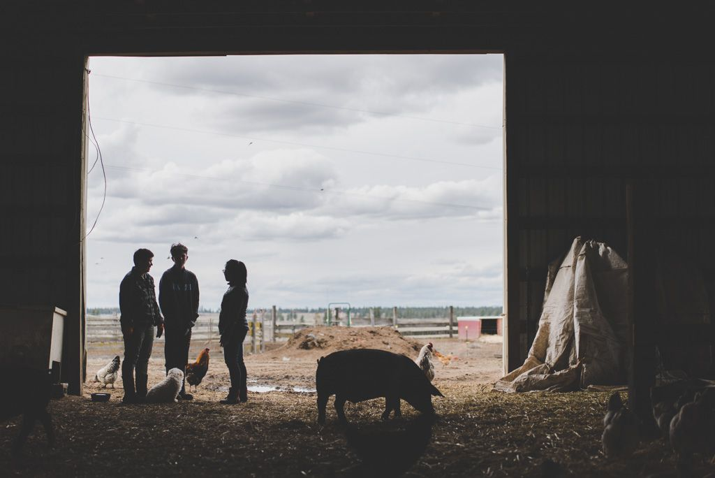 The view of a farm in Eastern Washington with three people, including butcher Kristina Glinoga, shown inside the shadows of a barn