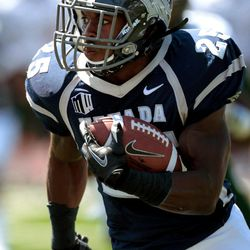 Nevada's Stefphon Jefferson (25) runs against South Florida during the first half of an NCAA college football game Saturday, Sept. 8, 2012, in Reno, Nev.