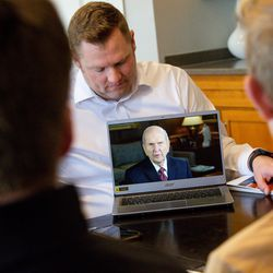 """Ryan Kirby shows his family a video message from President Russell M. Nelson during their gospel study at home using """"Come, Follow Me — For Individuals and Families: Book of Mormon 2020,"""" a manual for The Church of Jesus Christ of Latter-day Saints, in Lehi on Sunday, March 15, 2020."""