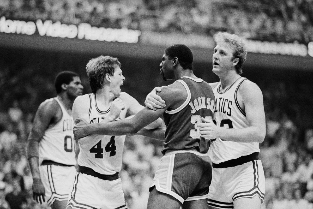 Basketball Player Larry Bird Restraining Magic Johnson
