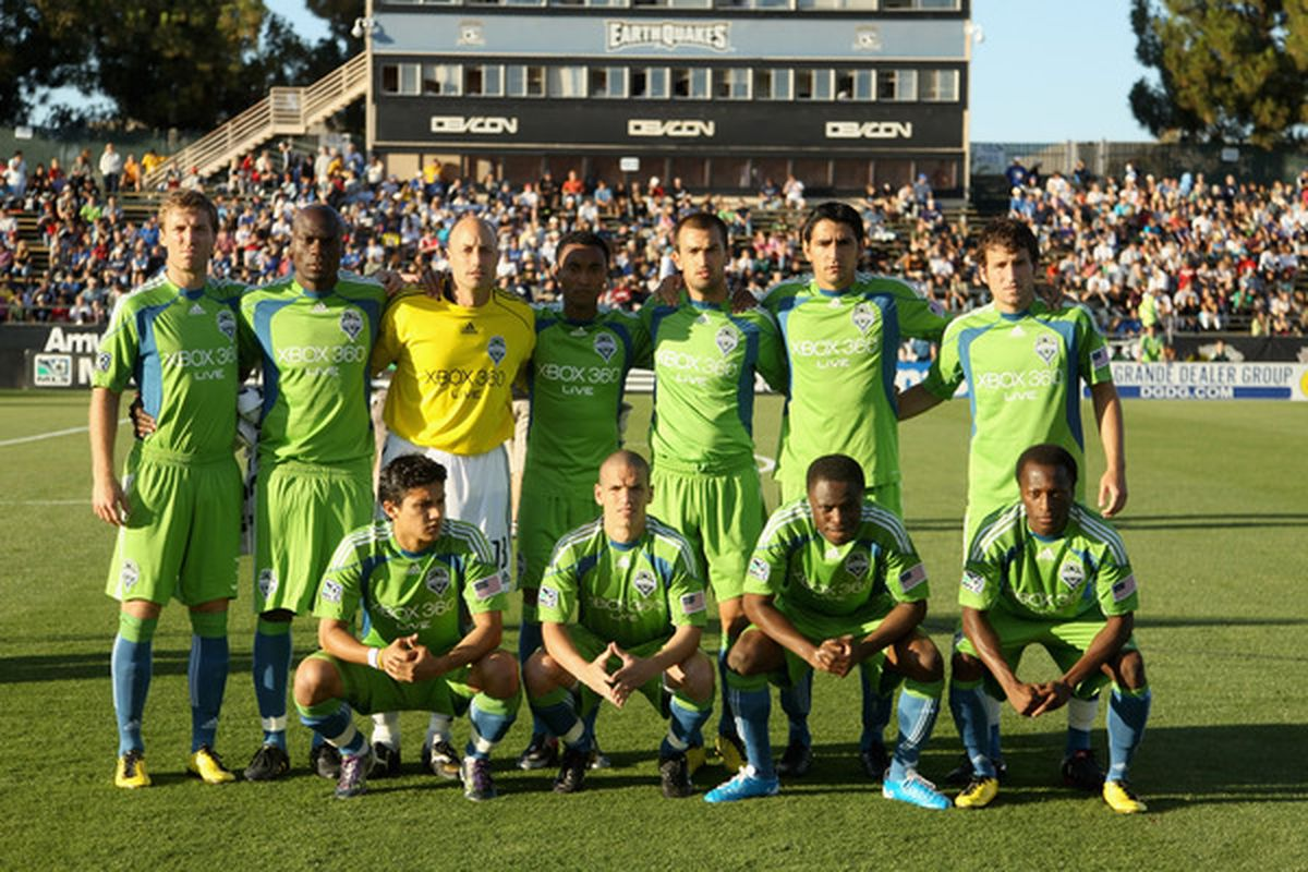 SANTA CLARA CA - JULY 31:  The Seattle Sounders FC pose for a team photo before their game against the San Jose Earthquakes at Buck Shaw Stadium on July 31 2010 in Santa Clara California.  (Photo by Ezra Shaw/Getty Images)