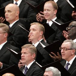 The Mormon Tabernacle Choir sing during the 182nd Annual General Conference for The Church of Jesus Christ of Latter-day Saints in Salt Lake City  Sunday, April 1, 2012.