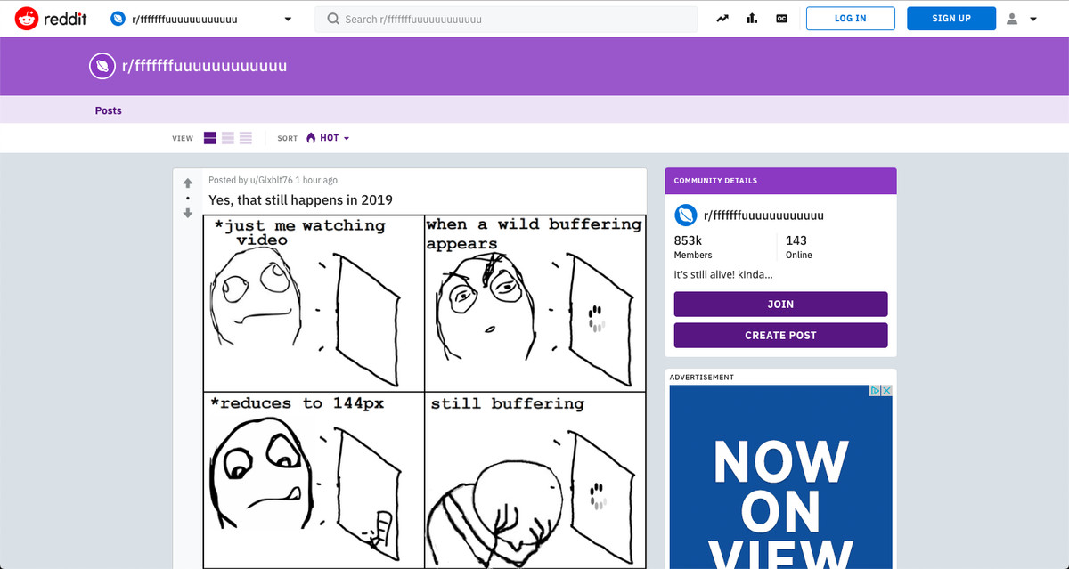 """The front page of the r/fffffffuuuuuuuuuuuu subreddit features a top comic about frustration with streaming video buffering, and a sidebar announcing """"It's still alive! Kinda..."""""""