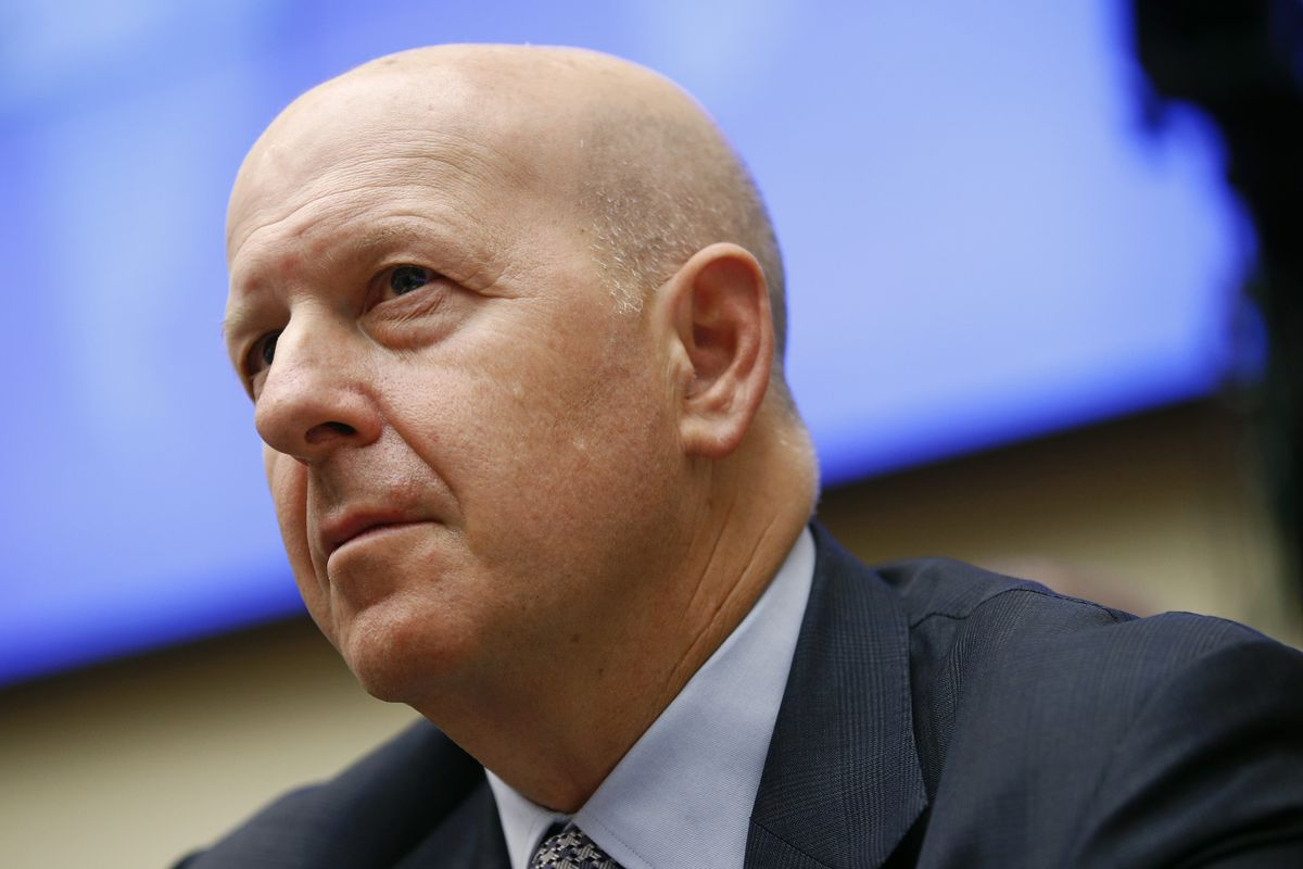 FILE - In this April 10, 2019, file photo, Goldman Sachs chairman and CEO David Solomon testifies before the House Financial Services Commitee during a hearing in Washington. Goldman Sachs said its first quarter earnings fell by 21% from a year earlier, h