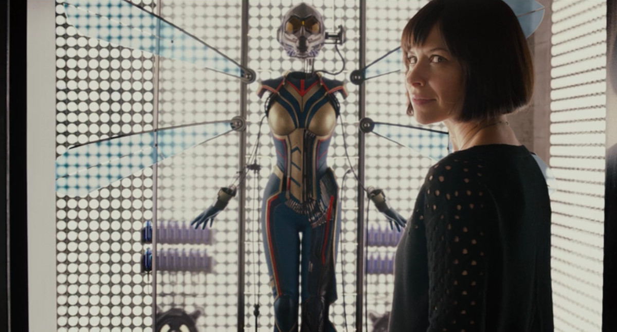 Hope (Evangeline Lilly) discovering Janet's Wasp armor in the post-credits scene of Ant-Man