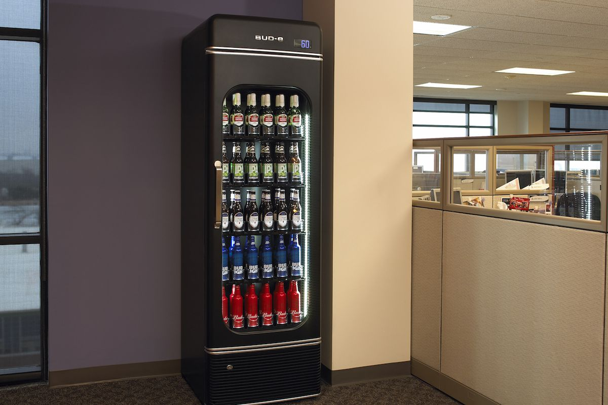 The Latest Marketing Ploy From Beer Giant Anheuser Busch Is A Smart Fridge Made For Offices Called Office Bud E Can Hold 180 Beers And Will
