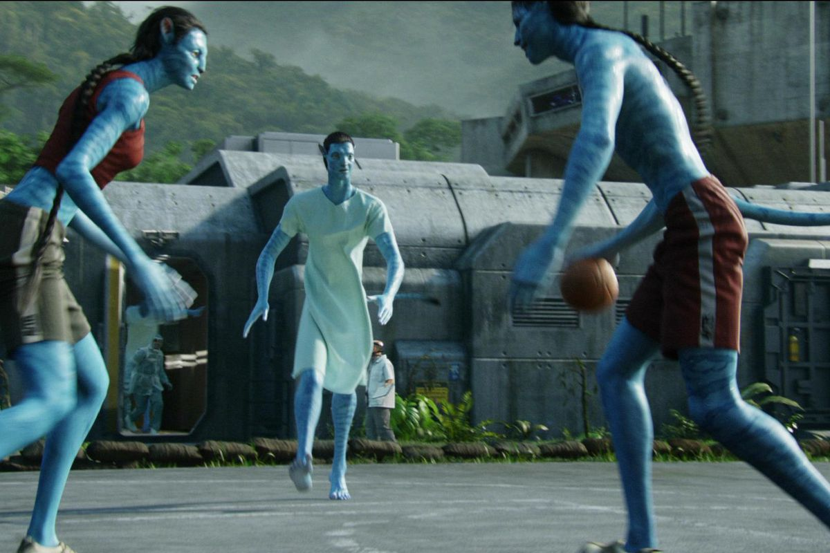 a bunch of blue aliens play basketball
