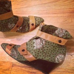 Dutch wax fabric that looks like African fabric ankle boots: $54. Size 9