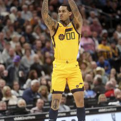 Utah Jazz guard Jordan Clarkson (00) shoots during an NBA game against the San Antonio Spurs at Vivint Arena in Salt Lake City on Friday, Feb. 21, 2020. The Jazz lost 104-113.
