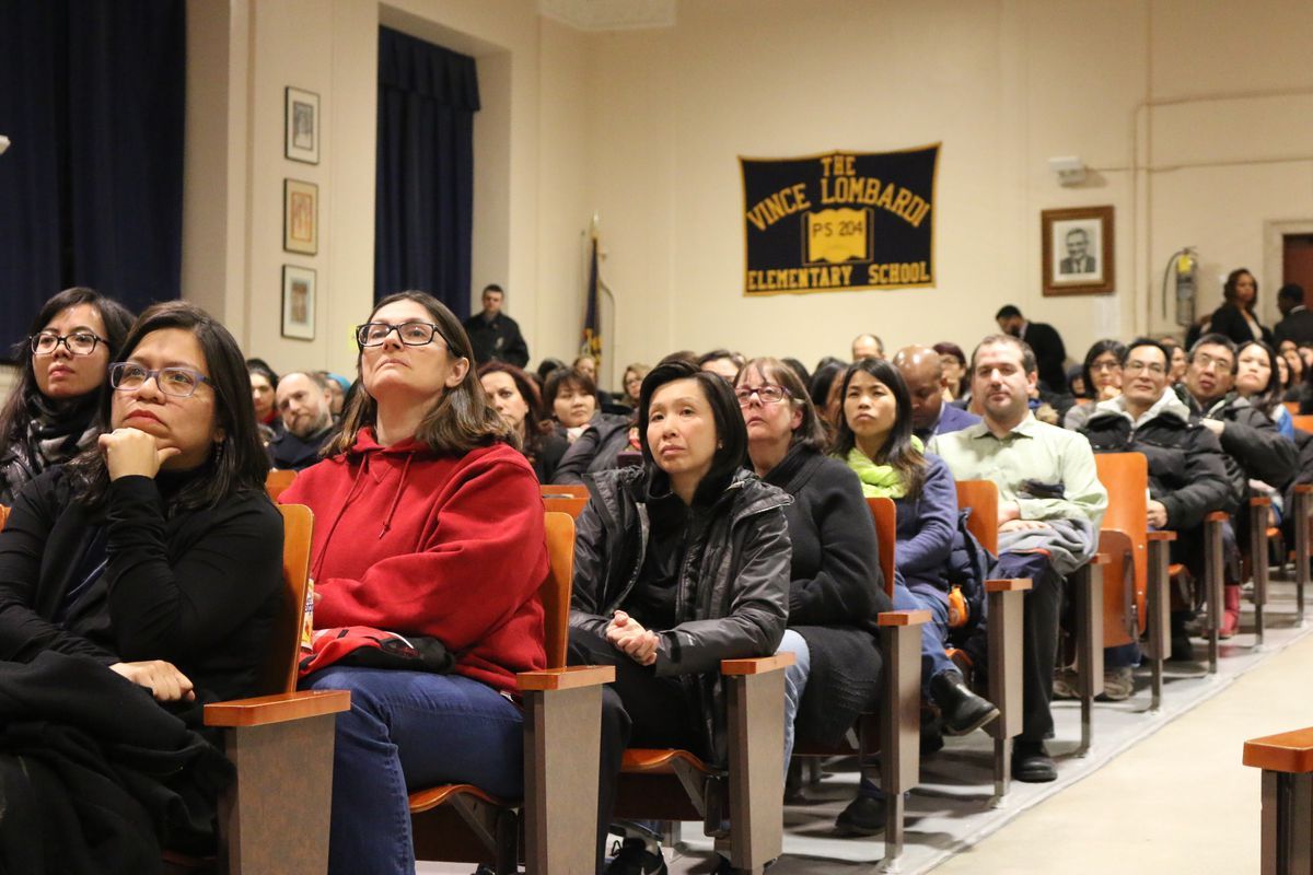 Parents gathered in District 20 in south Brooklyn for a town hall where many of the questions centered on the city's plans to integrate specialized high schools.
