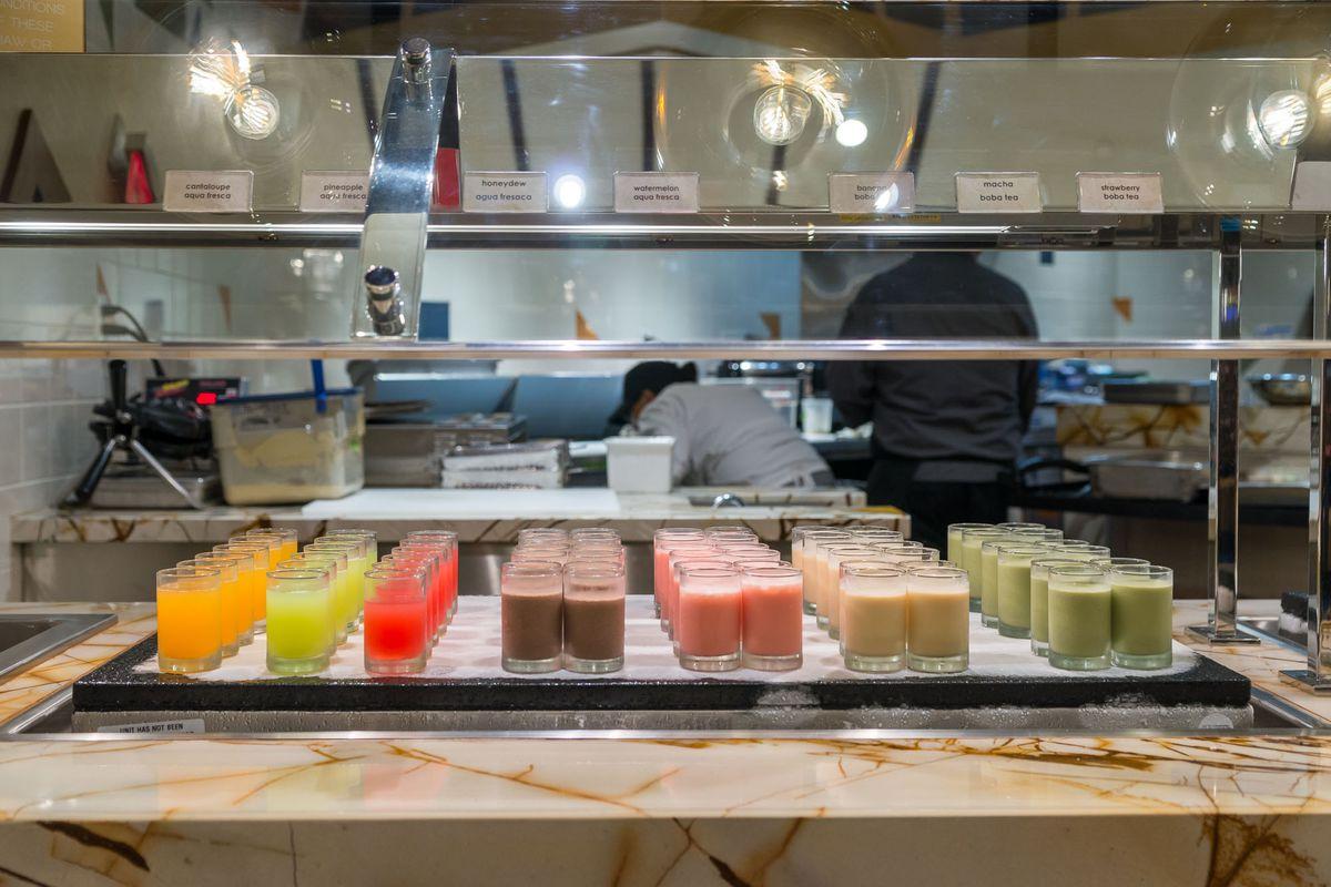 Aqua frescas and milk teas at Feast Buffet at Palace Station