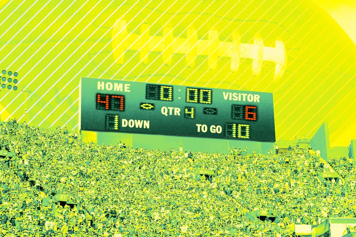 A football scoreboard showing the home team ahead 47-6