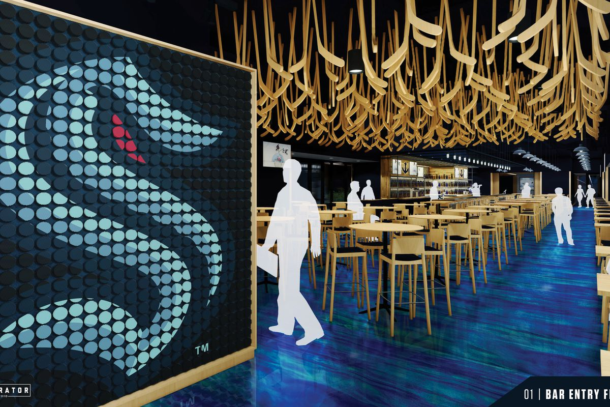 A computer rendering of the Kraken Bar & Grill, which displays the teams's blue logo on the left, with hockey sticks hanging from the ceiling and some stools scattered throughout the dining area