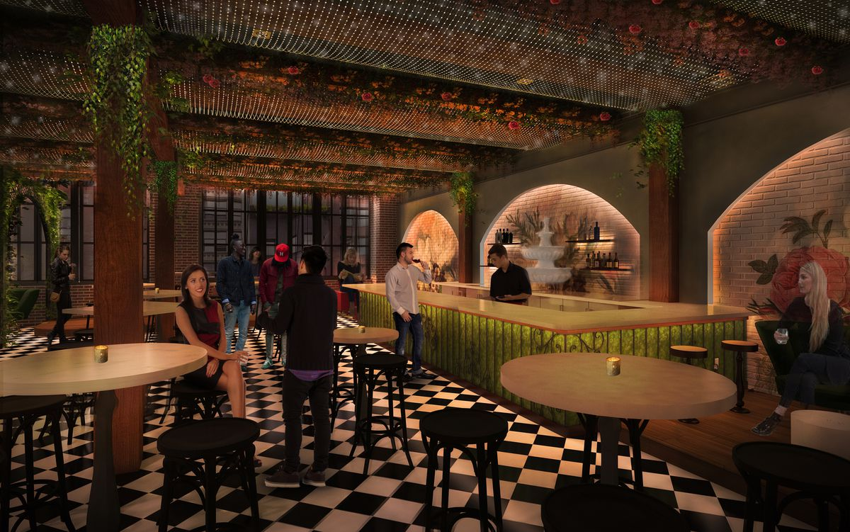 A rendering of an upcoming bar with vines from the beams, customers sitting in chairs, and more.