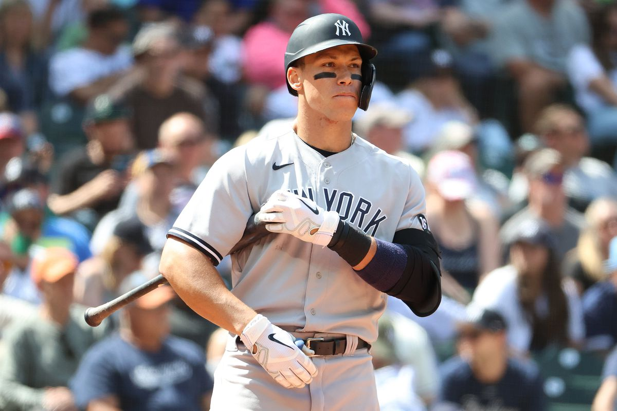 Aaron Judge #99 of the New York Yankees reacts during the ninth inning against the Seattle Mariners at T-Mobile Park on July 08, 2021 in Seattle, Washington.