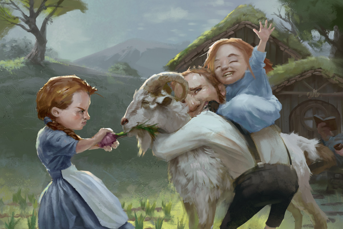 Dungeons & Dragons Mordenkainen's Tome of Foes - a halfling father wrestles with his daughters, who are fighting over the family goat.