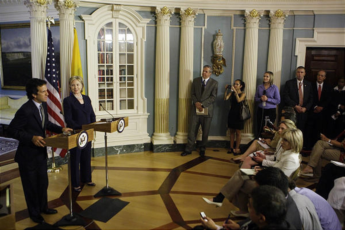 Secretary of State Hillary Rodham Clinton and Colombian  Foreign Minister Jaime Bermudez speak Tuesday in Washington.
