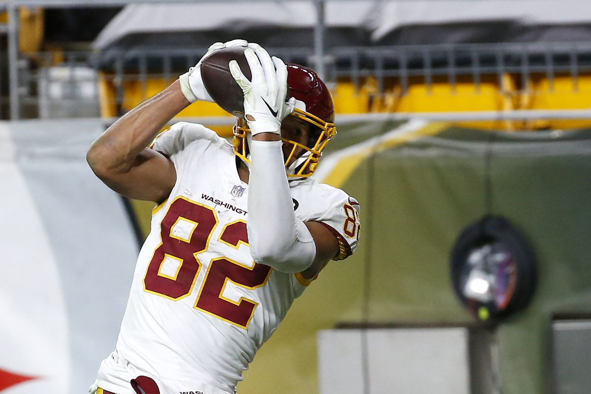 Logan Thomas #82 of the Washington Football Team catches a touchdown pass during the second half of their game against the Pittsburgh Steelers at Heinz Field on December 07, 2020 in Pittsburgh, Pennsylvania.