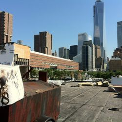 View of World Trade Center One from the rooftop terrace.