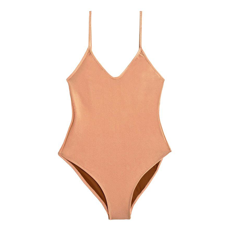 9e12e846a50 Nu Swim Arc One-Piece in Blush, $115 (was $192). A yellow bikini
