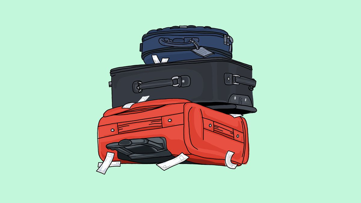Illustration of three pieces of luggage on their sides and stacked.