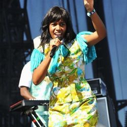 Santi White of Santigold's printed separates, possibly stolen from a crazy lady's living-room furniture set