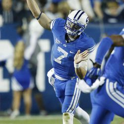 Brigham Young Cougars quarterback Christian Stewart (7) throws in Provo Saturday, Oct. 4, 2014. USU won 35-20.
